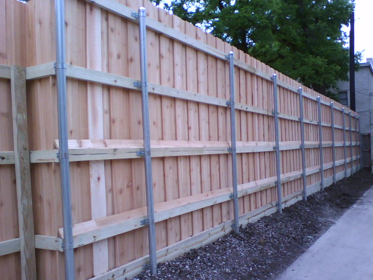 38 8 Foot Board on Board Fence with Metal Posts Fences Decks by