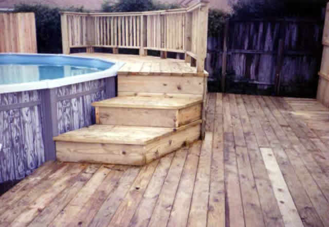14 above ground pool deck fences decks by t campbell - Above ground pool deck ideas on a budget ...