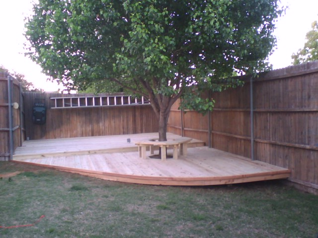 Treated Pine Deck With Bench Around Tree